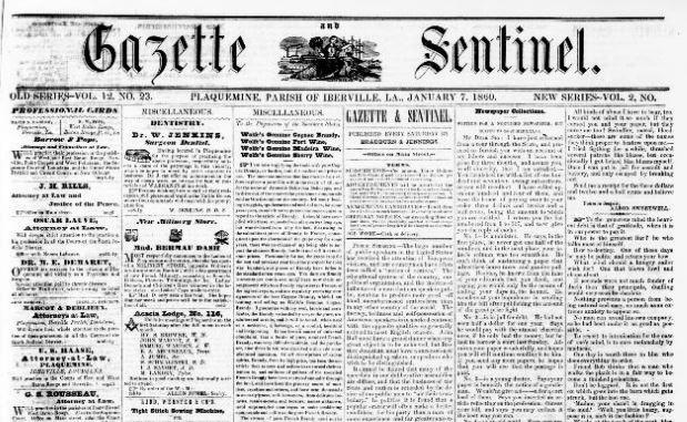 Gazette Sentinel, Plaquemine, LA, Jan 20, 1860, Image from Chronicling America