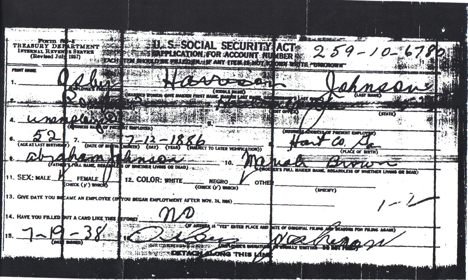 Osby Johnson SS5 FOIA and genealogy