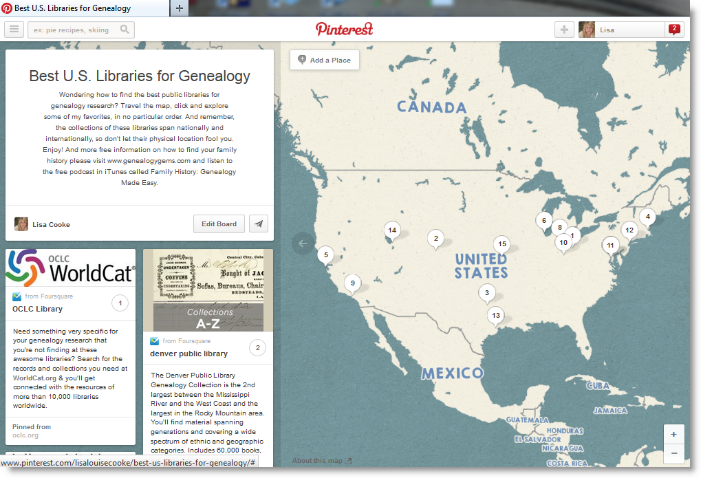 14 Best Libraries for Genealogy via Brand New Pinterest Feature