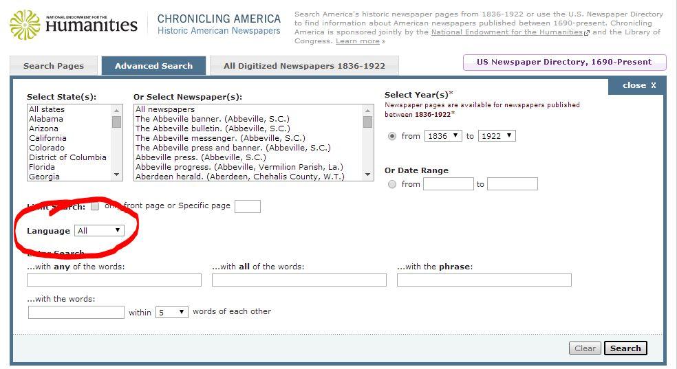 Chronicling America Search by Language