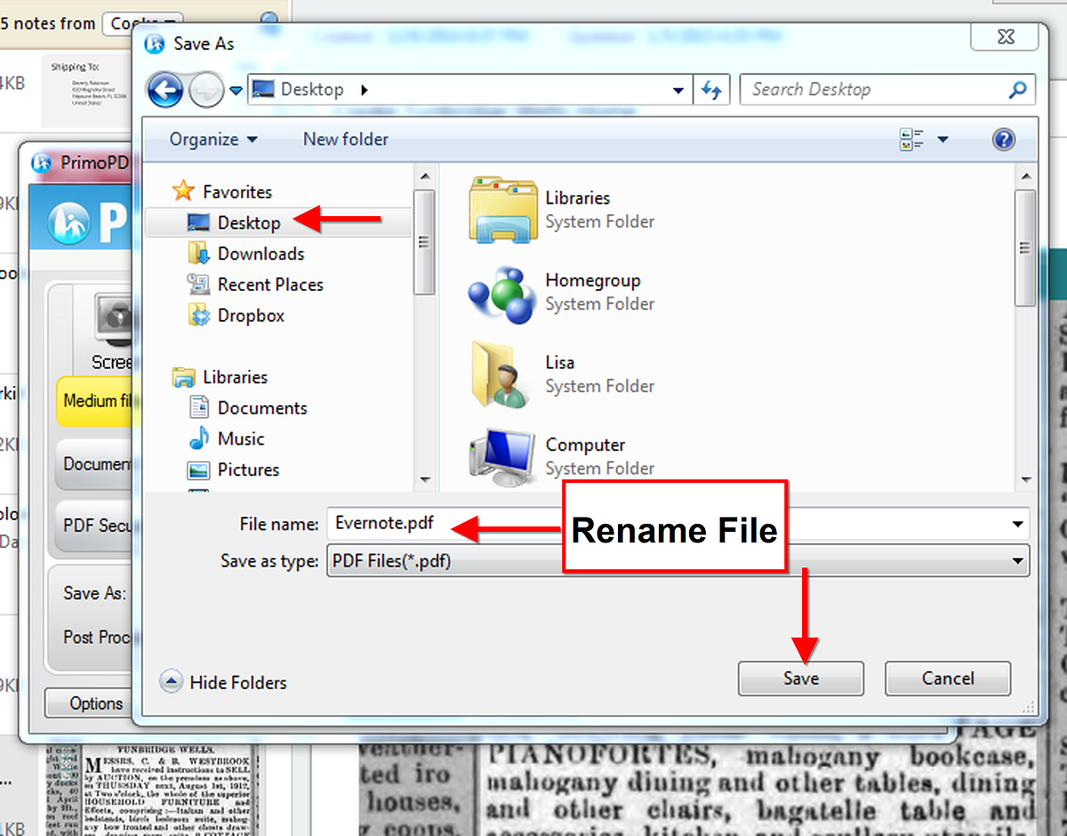 Save an Evernote note as PDF
