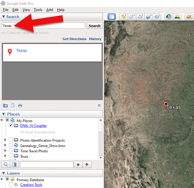 Type the locaton in the Search box and click Search.