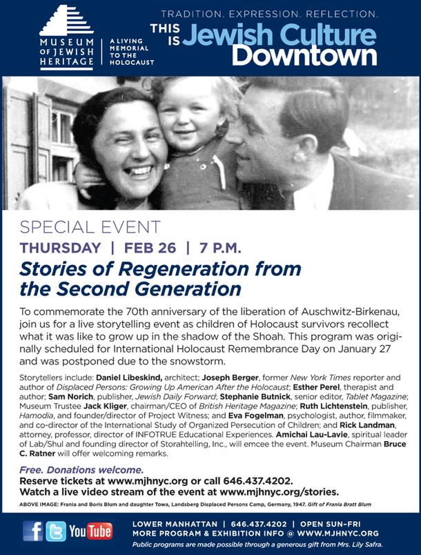 Feb 26 Free Event: Children of Holocaust Survivors Share their Stories
