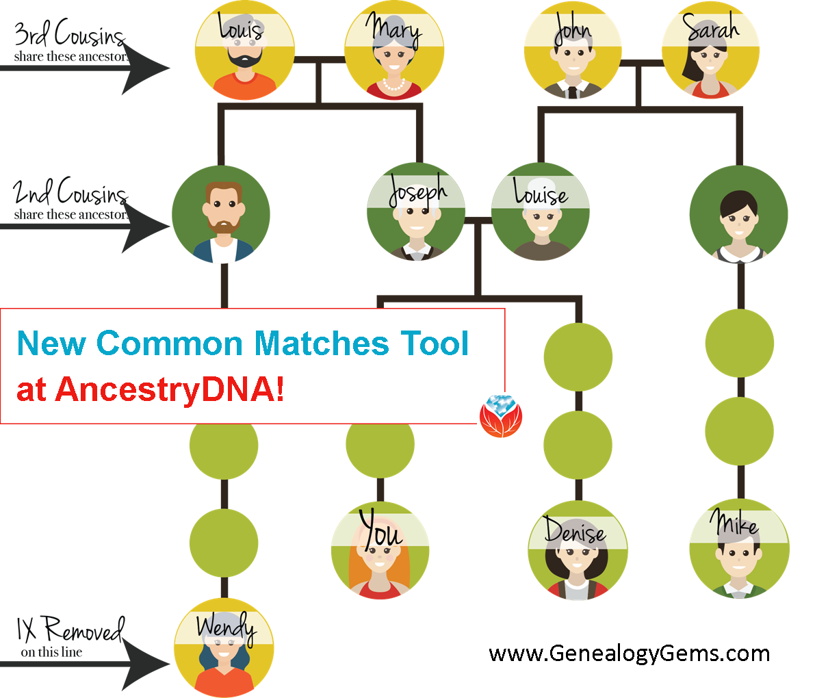 AncestryDNA common matches tool