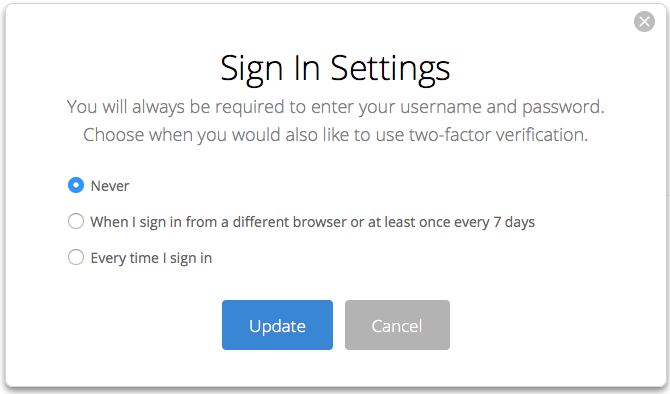 Backblaze sign in settings