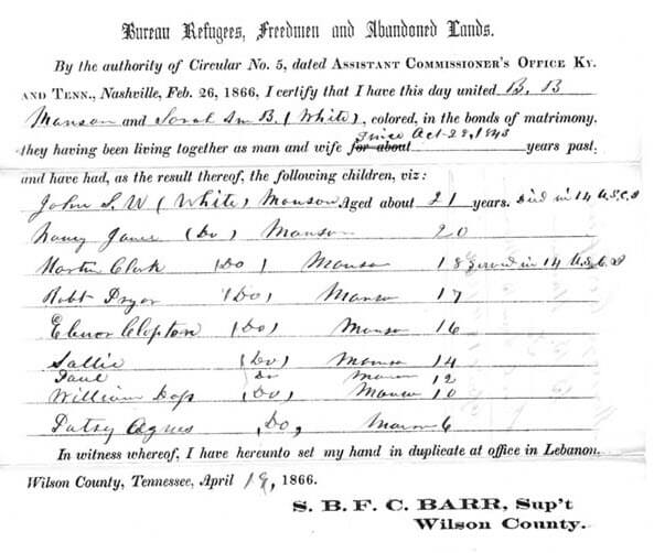 Marriage records created by the Freedmens' Bureau. Wikimedia Commons image; click to view.