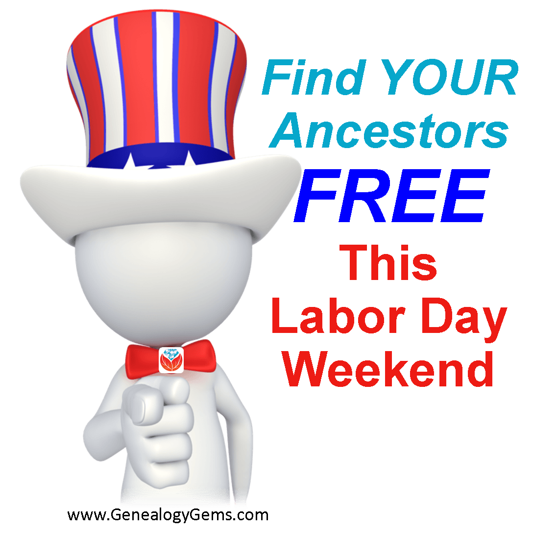 labor day weekend free genealogy family history