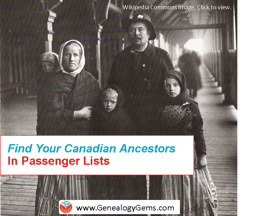 Search Canadian Passenger Lists for FREE at Library Archives Canada