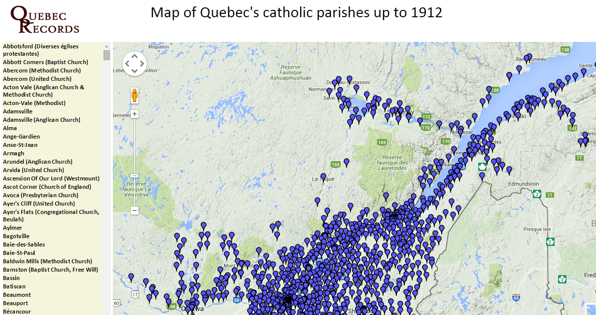 Quebec catholic parishes