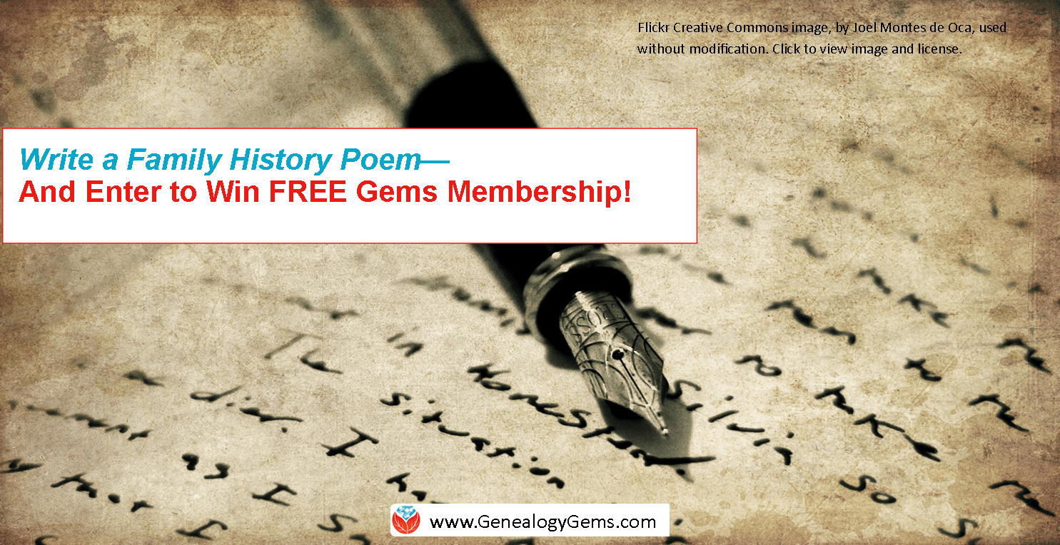 """Write Your Own """"Where I'm From"""" Poem and Enter to Win FREE Genealogy Gems Membership!"""