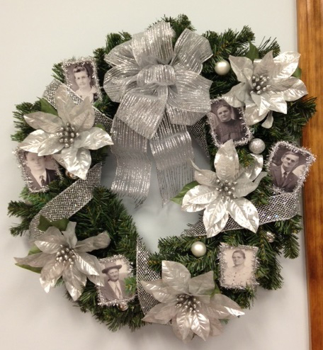 family history Christmas wreath silver