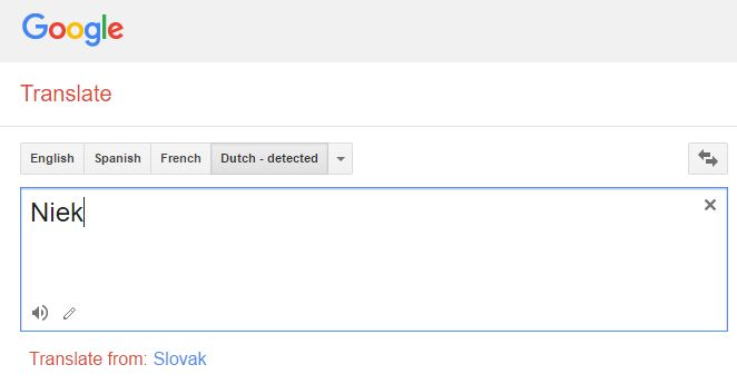 Google Translate how to pronounce Niek