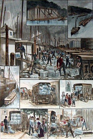 """The ice trade around New York; from top: ice houses on the Hudson River; ice barges being towed to New York; barges being unloaded; ocean steamship being supplied; ice being weighed; small customers being sold ice; the """"uptown trade"""" to wealthier customers; an ice cellar being filled; by F. Ray, Harper's Weekly, 30 August 1884. Public domain image, Wikimedia Commons. Click to view."""