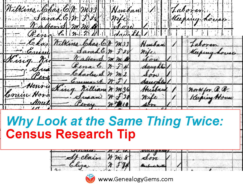 Census Research Tip: Why Look at the Same Thing Twice