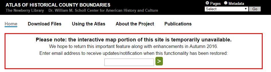 Atlas of Historical County Boundaries error message