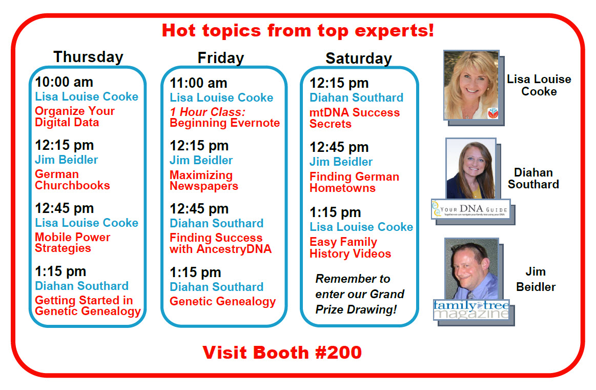FGS 2016 Genealogy Gems booth schedule