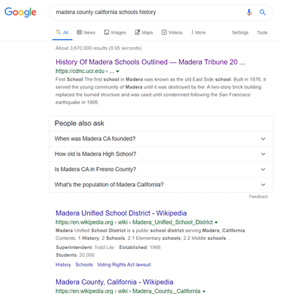 google search for schools