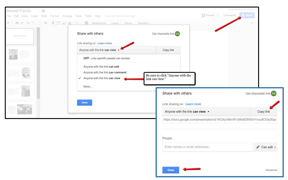 Share Google Slides for Genealogy