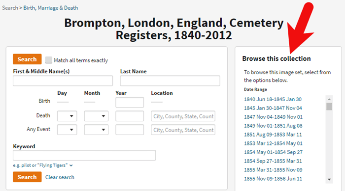 browse indexed records at Ancestry