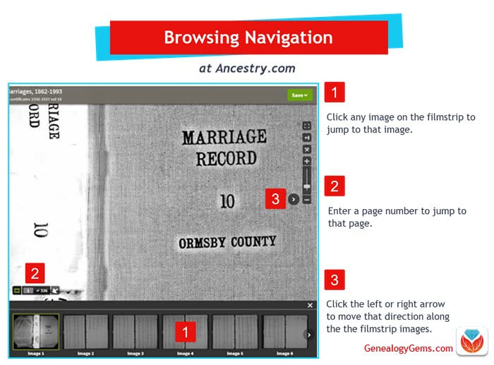 browse navigation at Ancestry.com