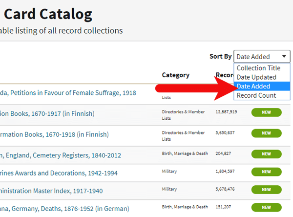 New Records at Ancestry.com sorted by Date Added