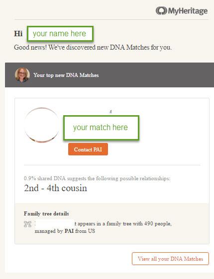 MyHeritage dna match alert