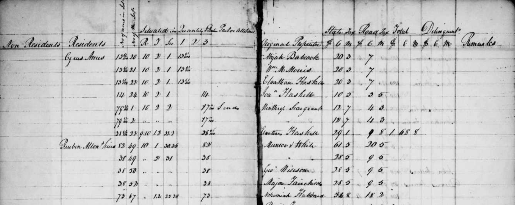 tax records and american slave records
