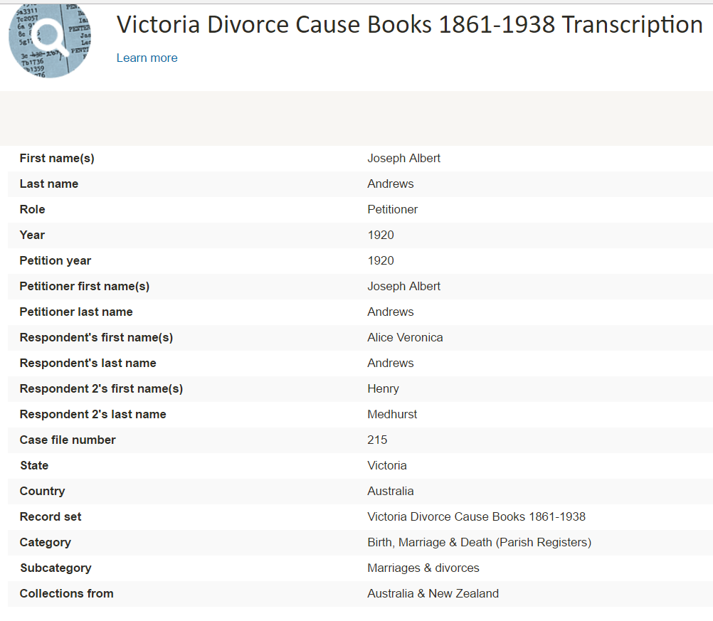 Victoria divorce records