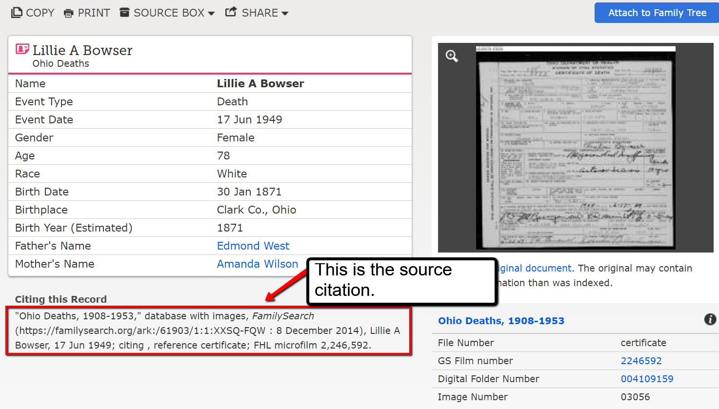 Adding source citations from FamilySearch