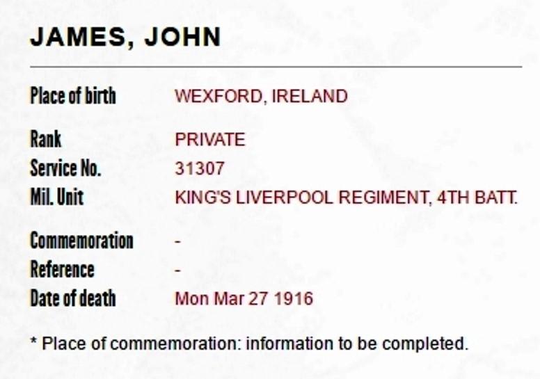 trace Irish ancestors in military memorials