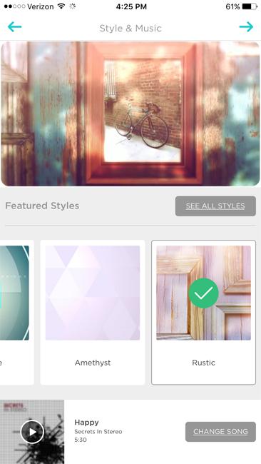 Animoto App pick theme and music