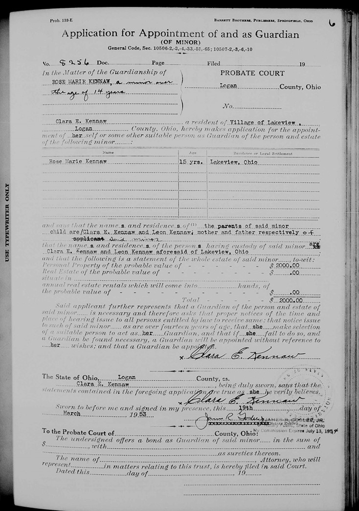 Ohio genealogy guardianship record