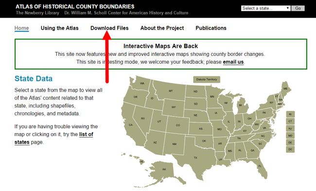 download files at Atlas of Historical County Boundaries