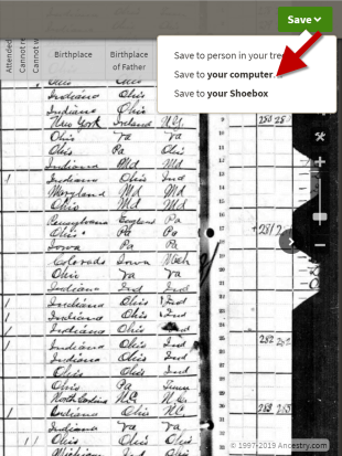 Saving document from Ancestry before subscription expires