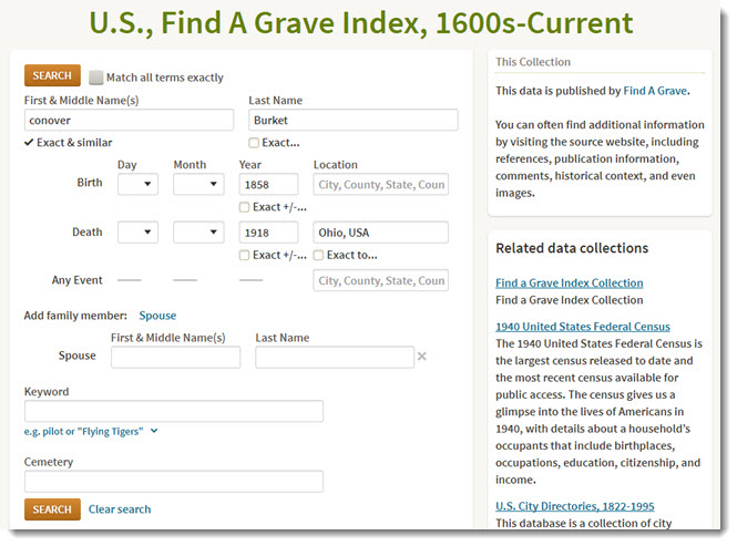 ancestry find a grave search