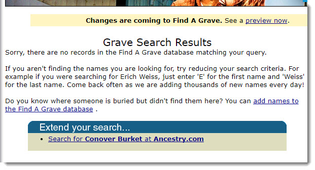 find a grave results