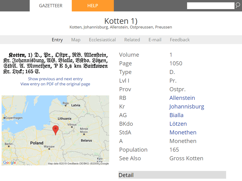 Using Meyers Gazeteter for German places