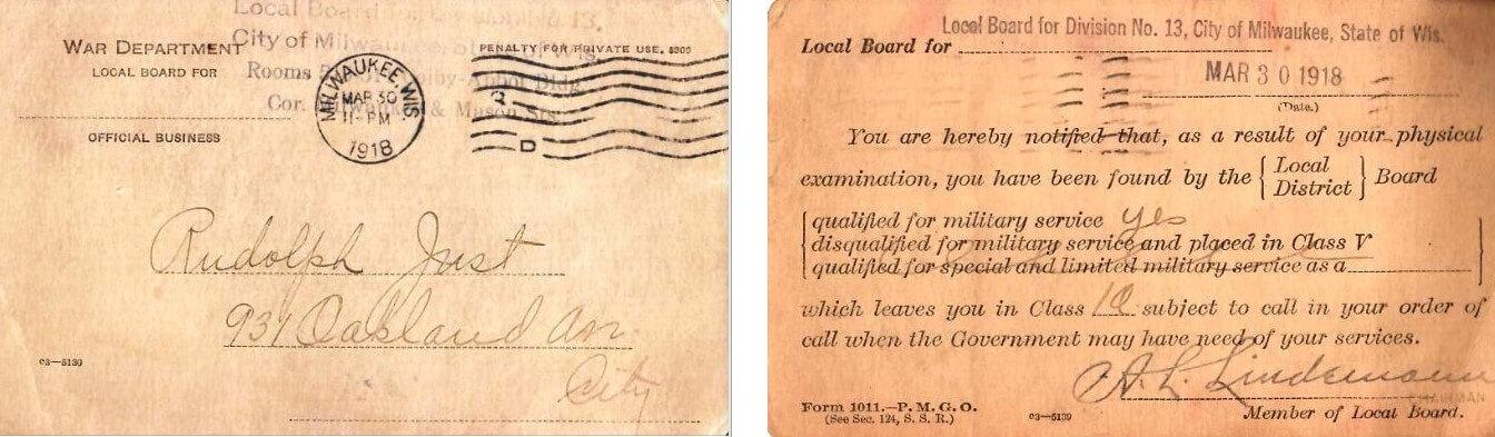 Rudolph Just-WWI Draft Classification Postcard