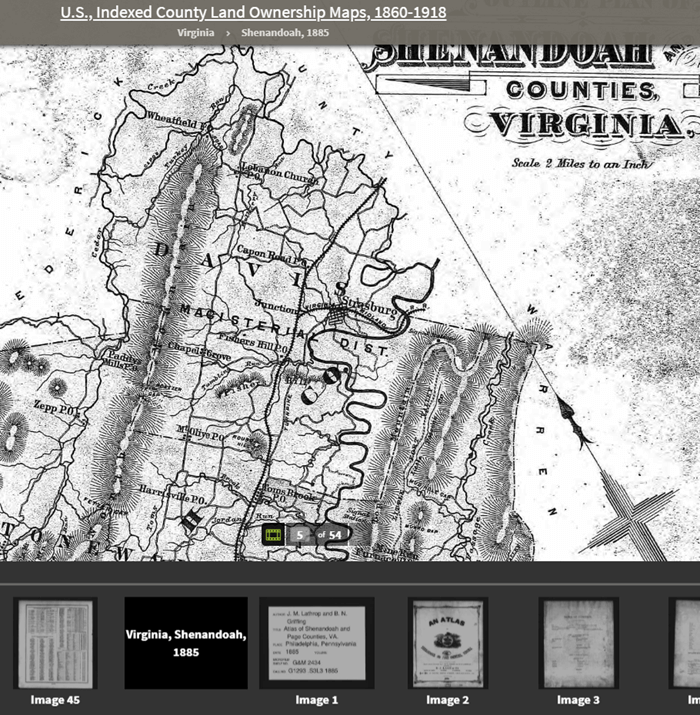 Shenandoah Counties, Virginia - included in U.S., Indexed County Land Ownership Maps, 1860-1918
