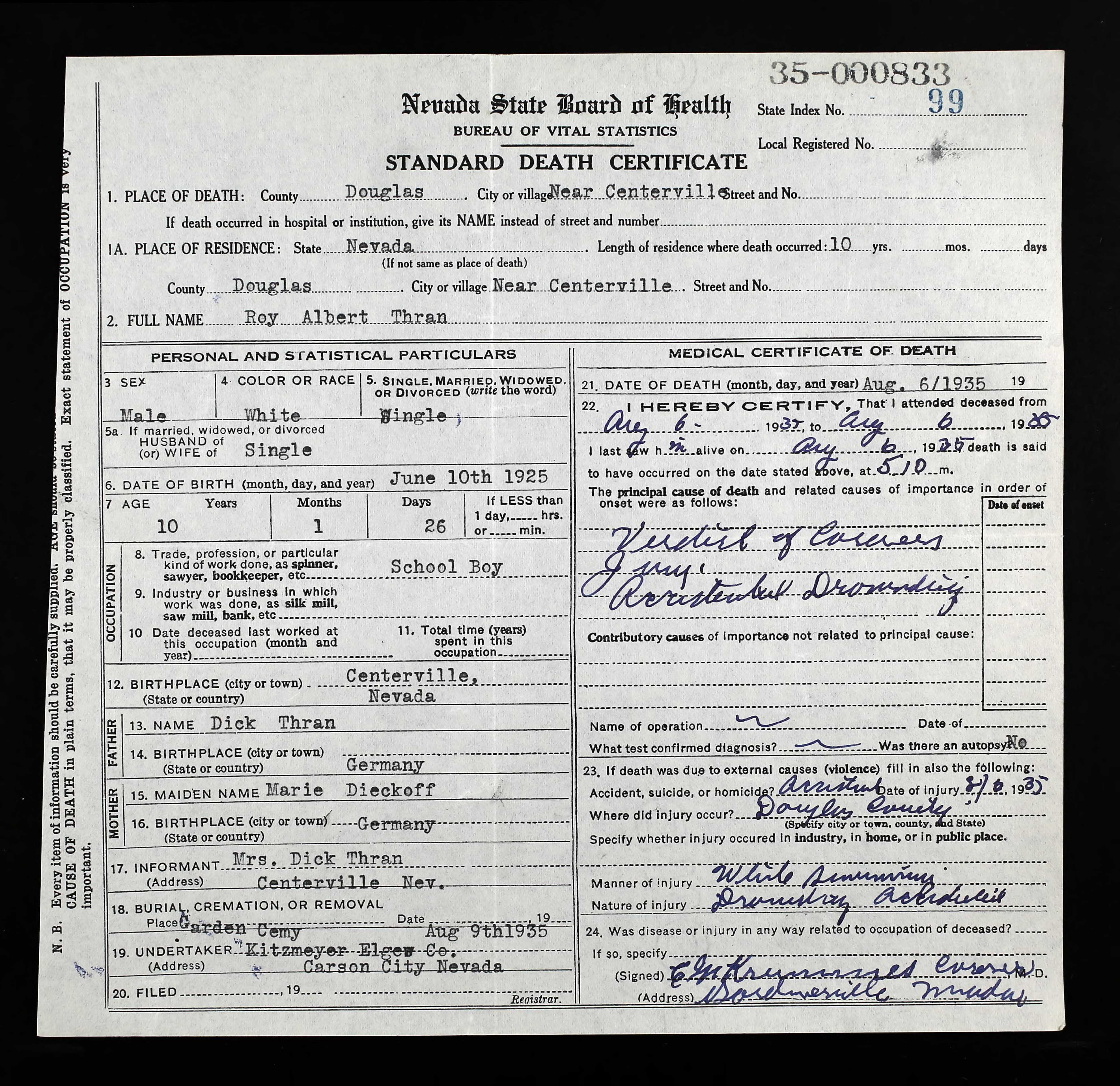 roy thran death certificate