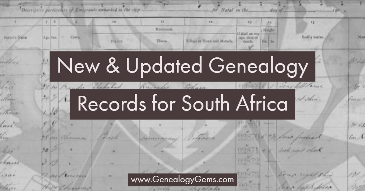 new genealogy records for South Africa
