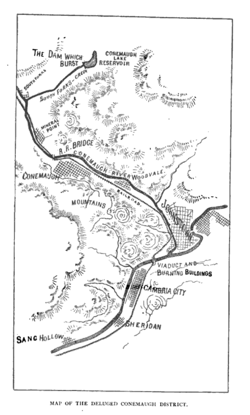 Map of the Johnstown Flood Area