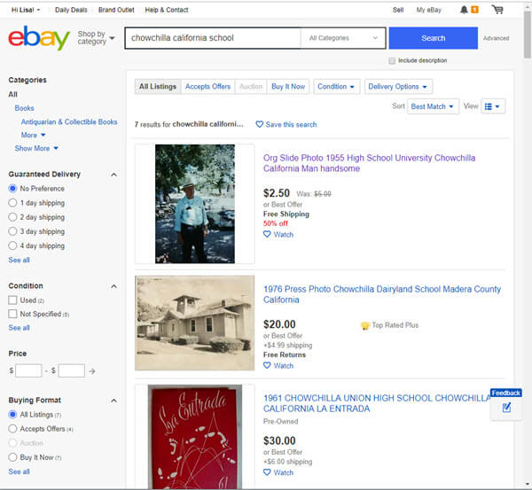 ebay search for school records
