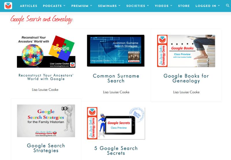 Genealogy Gems videos on Google search