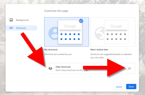 how to hide shortcuts in Chrome Browser