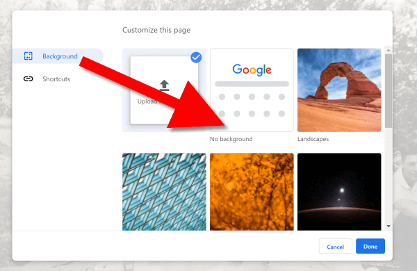 Remove background in Chrome New Tab