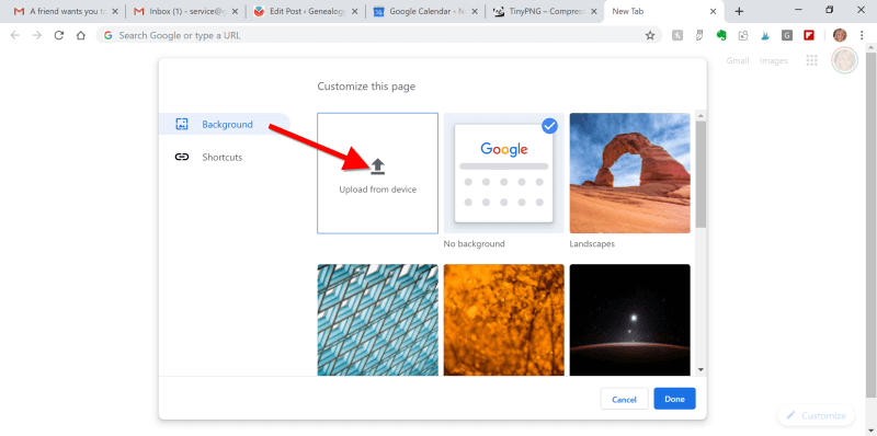 Upload Image to Chrome Browser