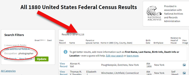 How to search the 1880 census for photographers