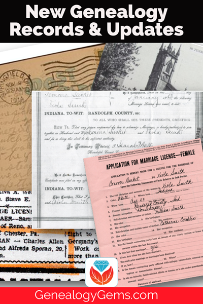 new genealogy records and updates