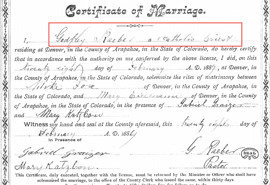 How to find church records: Colorado civil marriage record